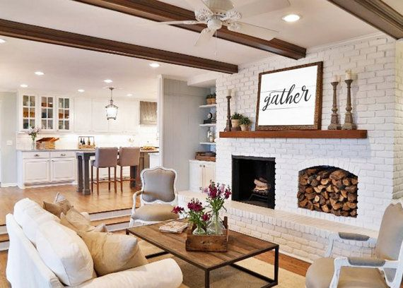Gather Sign Gift For Her Wall Art Rustic Home Decor Shiplap Farmhouse Large Wood Print