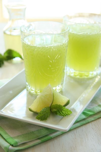 Honeydew Mint Agua Fresca ~ beverage of pureed and strained honeydew combined with water and juice of two limes; if desired, add a bit of Mint Syrup (water, sugar, mint leaves).
