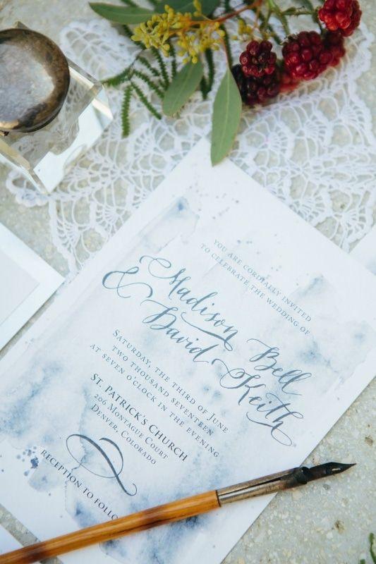dusty blue calligraphy wedding invitaton