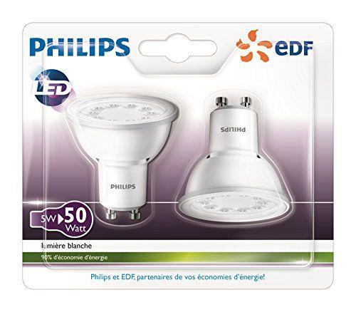 Philips Lot de 2 Ampoules LED Spot Culot GU10 5W Consommés Équivalent 50W Partenariat Philips/EDF: Faites des économies d'énergie grâce au…