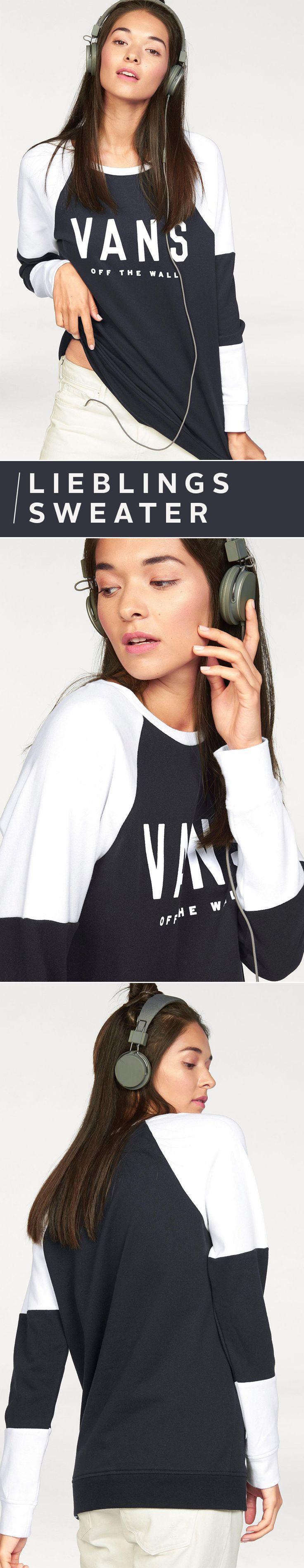 Geht`s noch lässiger? Wir sagen nein! Das Sweatshirt von VANS ist der Inbegriff deines neuen Lieblingspullis: Retro-Logoprint auf der Vorderseite, cooles Colourblocking in schwarz und weiß – und das alles in einer wunderbar weichen Sweatwear-Qualität. Und zack, schon verliebt!