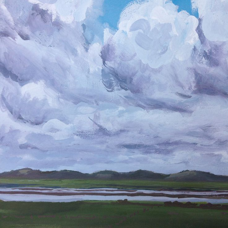 Clouds over the inlet - gouache on paper