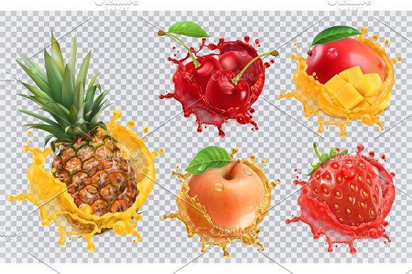 Fruits And Splashes Vector Icon Set Fruit Splash Mango Juice Pineapple Strawberry
