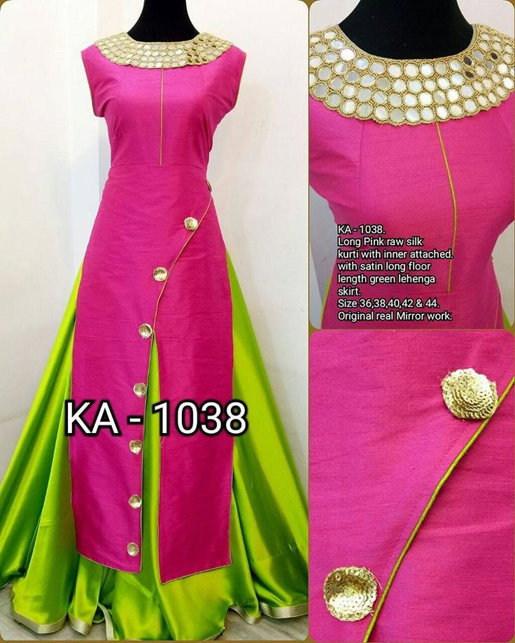"1,921 Likes, 27 Comments - Tamanna Creations (@tamanna_creations) on Instagram: ""Long pink raw silk indo western kurti with inner attached & long satin Lehenga skirt original…"""