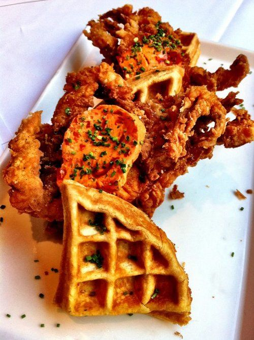 Waffles are NOT just for breakfast anymore. Mmm whole fried soft-shell crab on top of a savory Old Bay-seasoned waffle