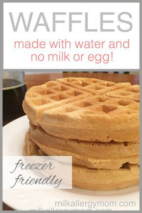 These egg-less waffles also don't require milk, just water! Great for food allergies, topped with dairy-free butter and real maple syrup.