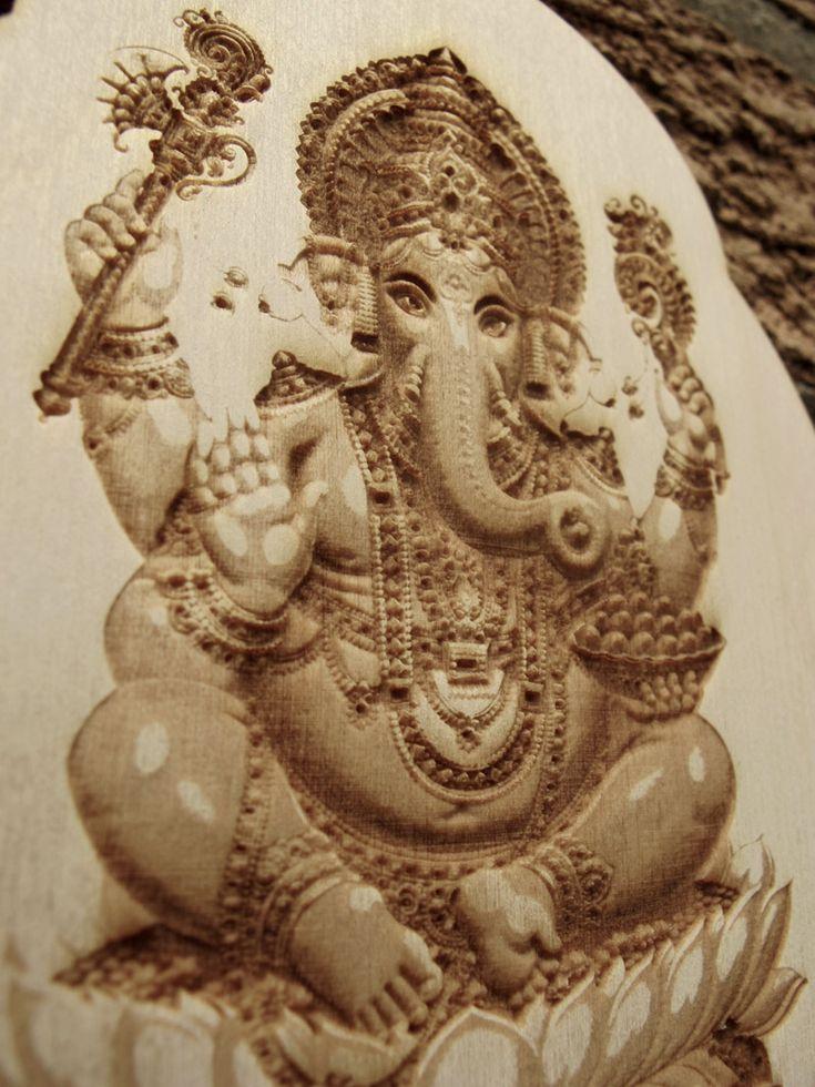 Ganesha Laser Engraved Wood Wall Hanging The Hindu Deity