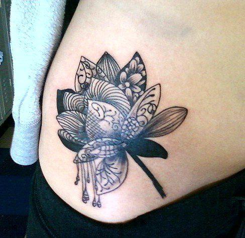 line art flower tattoo