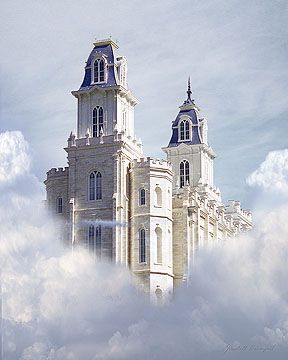 """Manti Mormon/LDS Temple Painting """"Unto The Lord"""" Love the in the clouds look."""