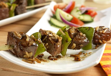 Grilling marinated beef cubes over medium heat results in these tender evenly cooked morsels we all love.