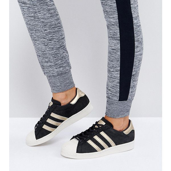 adidas Originals Black and Gold Superstar 80S Sneakers ($110) ❤ liked on Polyvore featuring shoes, sneakers, black, adidas cap, black jersey, adidas shoes, black gold sneakers and black sneakers