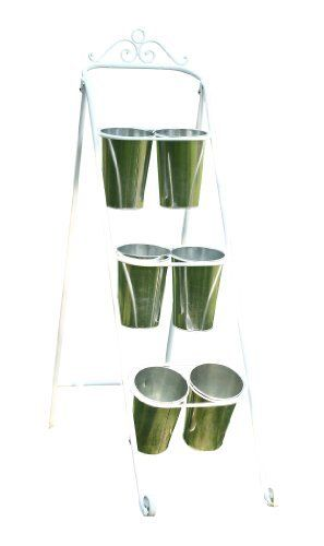 Napco 19853 White Metal 3-Tier Plant and Flower Stand with 6 Vases by Napco. $106.63. 14-1/2-inch by 34-inch by 48-1/2-inch. Creatively display cut flowers or plants with this multi-level stand that includes 6 metal pot covers. Made of quality metal for durability and long lasting beauty indoors or out. Spruce up your lawn, garden, deck or patio with this decorative ornamental plant and flower stand. Perfect for indoor or outdoor use. Napco has built a uniquely innova...