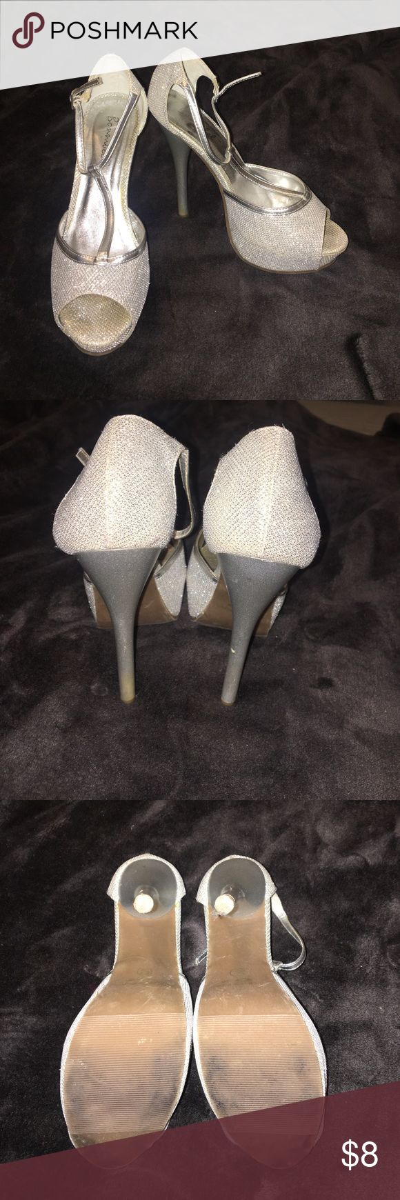 Stilleto high heels - silver Silver shimmering high heels. Size 6.5 in very good condition. Shoes Heels