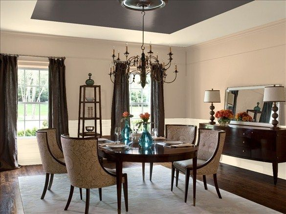 Benjamin Moore Paint Colors   Neutral Dining Room Ideas   Timeless Neutral  Dining Room   Paint Color Schemes Love The Dark Ceiling Part 35