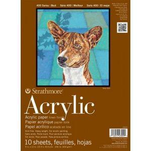"Strathmore® 400 Series 9"" x 12"" Glue Bound Acrylic Pad: Glue Bound, White/Ivory, Pad, 10 Sheets, 9"" x 12"", Acrylic, 246 lb, (model ST430-9), price per 10 Sheets pad"