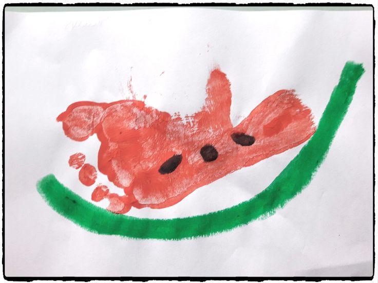 pastèque en empreinte de pied, bricolage été, vacances, fruit, enfants