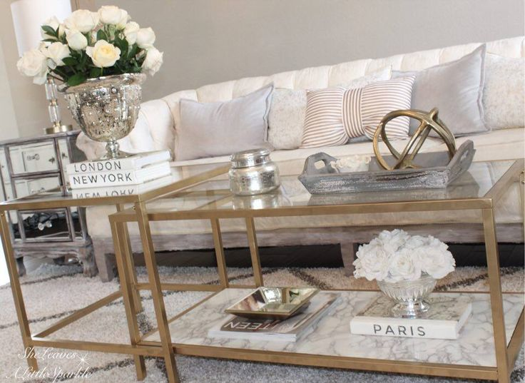 The BEST ikea hack! Vittsjö nesting  tables turned gold and marble coffee table DIY tutorial.