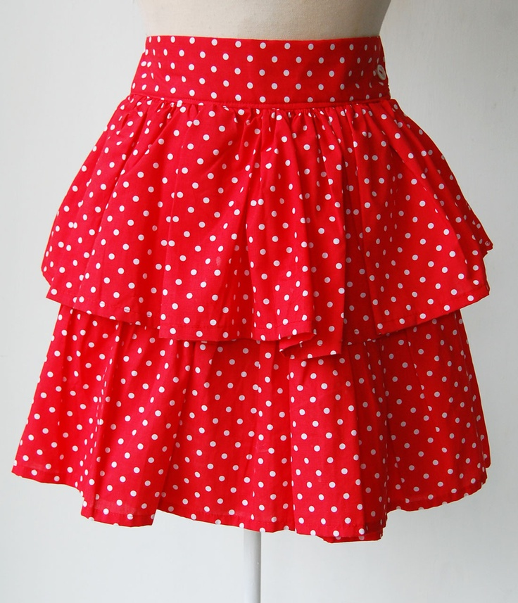 Red polkadot 1980's vintage rara skirt