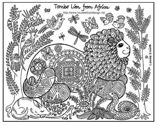 Free Printable African Lion Art Coloring Page