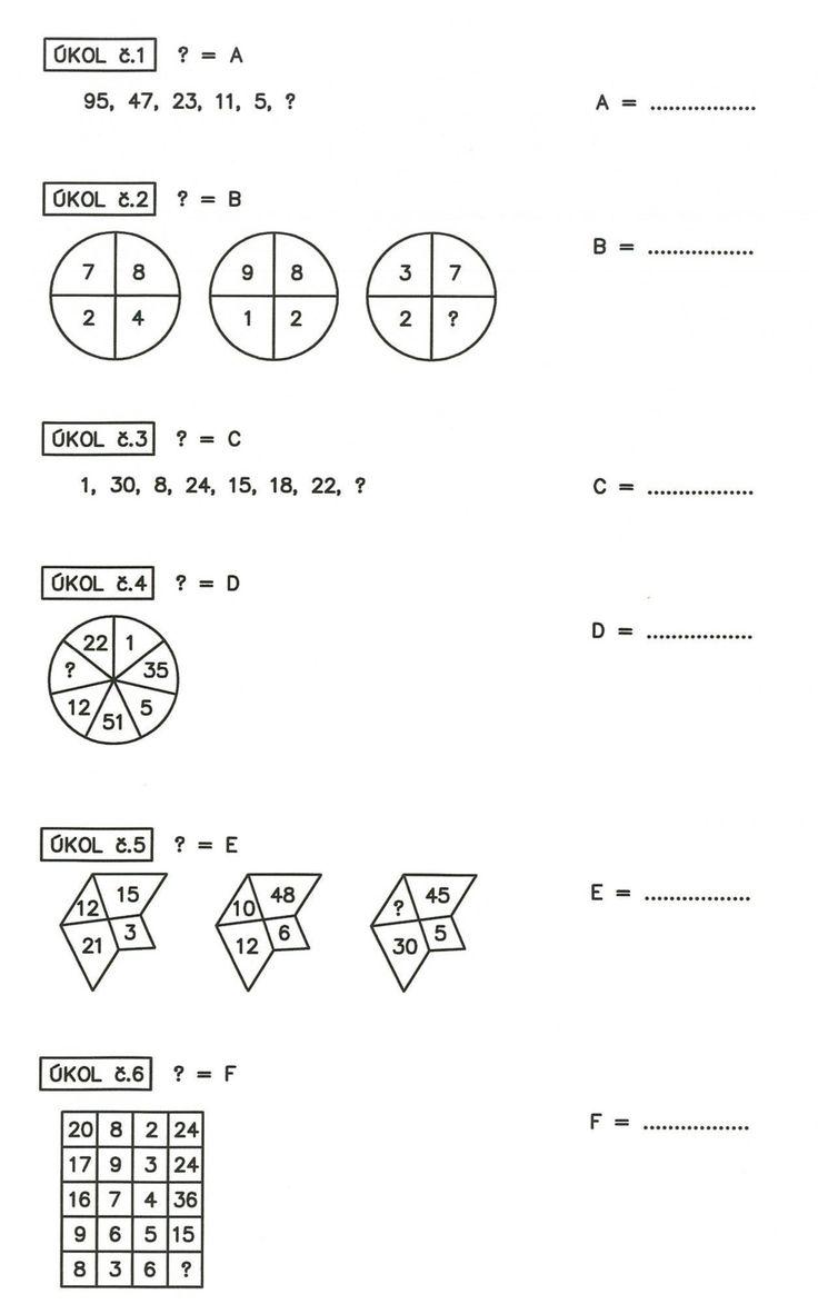 Vyřešte tyto příklady 1 až 6.