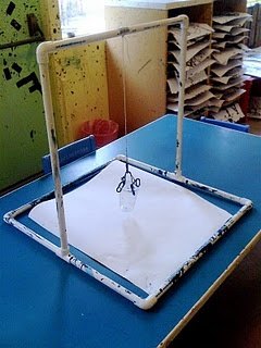 Pendulum Painting.  Plastic cup with a hole in the bottom.  Hold finger over hole until time to let the child spin.  what about suspending this from a low tree branch and doing it outside?