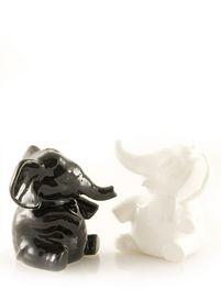 twee olifantjes voor geluk zwart en wit zout en peper
