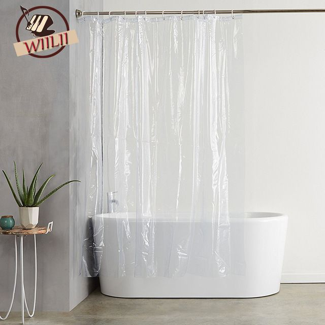 Plastic Peva Waterproof Shower Curtain Transparent White Clear