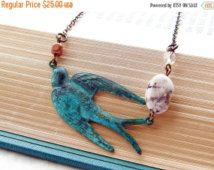Holiday Sale Vintage Inspired Patina Verdigris Swallow Necklace