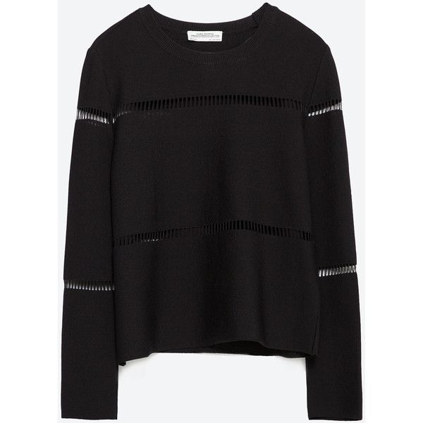 Zara Cut Out Sweater ($50) ❤ liked on Polyvore featuring tops, sweaters, black, cut out sweater, zara sweaters, black sweater, cutout sweater and cut-out tops