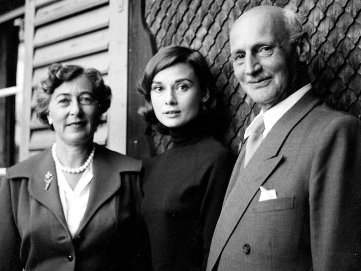 Anne Frank's father Otto and his second wife Fritzi pictured with Audrey Hepburn, 1957. Photograph by Mel Ferrer.