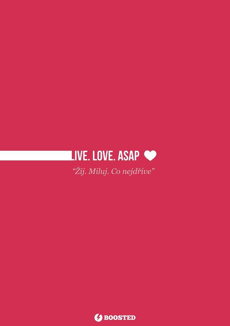 Motivační plakát Žij. Miluj. Co nejdříve (Anglicky/Česky)