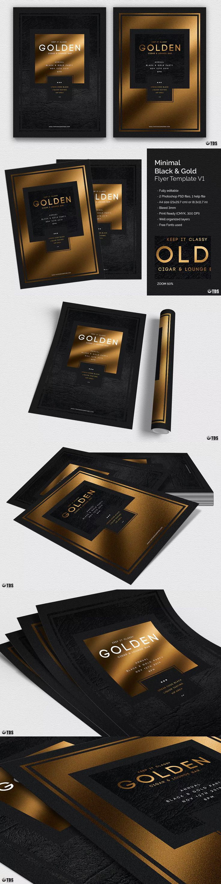 Minimal Black and Gold Flyer Template PSD
