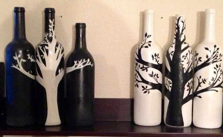Wine Bottles I painted #winebottles