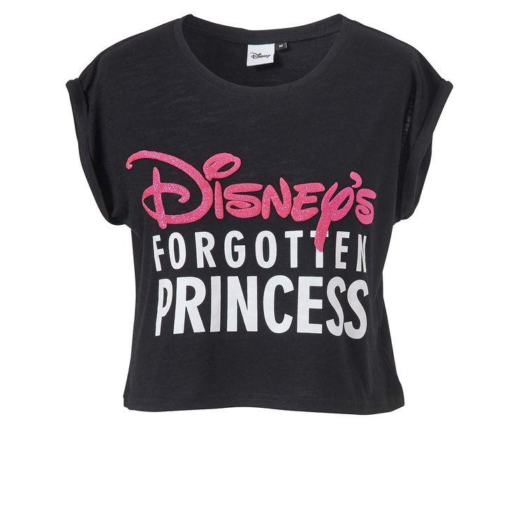 """Croptop """"Disney"""" mit kurzen Flügelärmeln und engem Rundhals-Ausschnitt. Kurzes Modell mit Schriftzug-Print """"Disney's forgotten princess"""". Das Shirt findet ihr hier: http://www.mister-lady.com/Women/Shirts-/Croptop-Disney-schwarz-XS.html?listtype=search&searchparam=disney* #misterladycommunity #misterlady #crop #shirt #black #disney #pink #weiß #princess"""