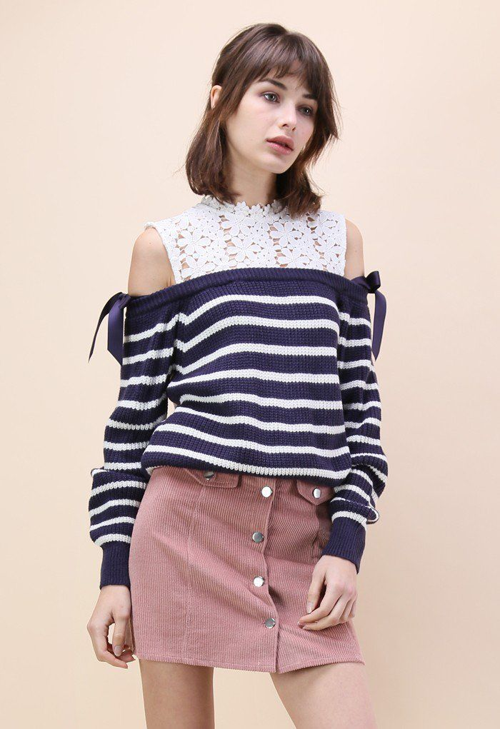 Give into the sweet temptation and select this cold-shoulder sweater that serves up lovely lace across the shoulders and collar bone as well as navy stripes. It's a season-flexible top that keeps it casual and cute.  - Cold-shoulder design - Floral crochet finished - Crew neckline - Ribbed cuffs and hemline - Keyhole cutout with button to reverse - Self-tie bowknot on sleeves - Knitted fabric provide flexibility - 100% polyester - Hand wash  Size(cm)  Length Bust &nbs...