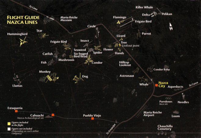 """Las lineas de Nasca y                     de Ingenio, con la indicación de Pueblo Viejo, de                     las pirámides de Cahuachi y la Estaquería; foto de                     J. Alvarado, de la edición                     """"www.peruinside.com""""; indicaciónes todos                     solo en inglés"""