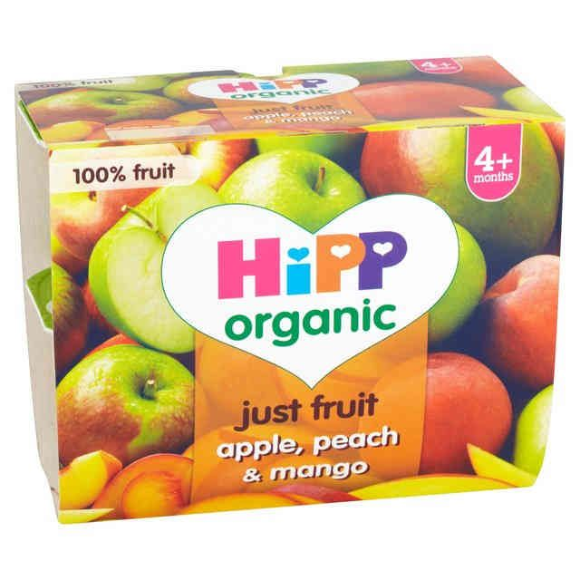 HiPP Organic Baby Food Just Fruits Apple, Peach & Mango 4 x 100g