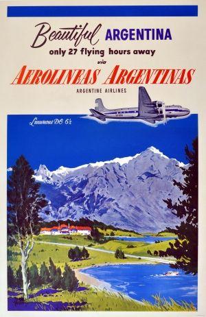 Beautiful Argentina DC-6 Aeroglineas Argentinas, 1950s - original vintage poster by Adolph Treidler listed on AntikBar.co.uk