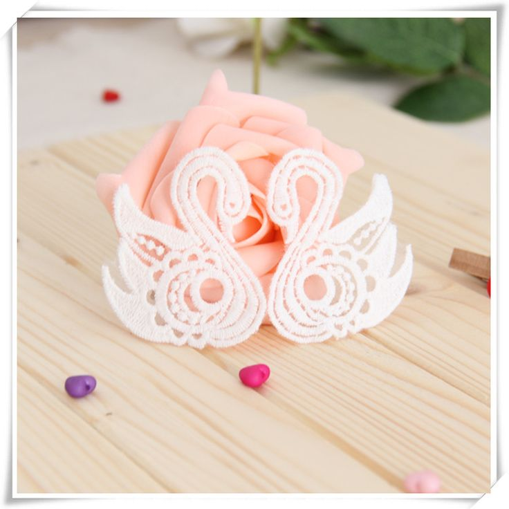 20 pcs/lot, Free Shipping LA226 Sew On Handmade Lovely Children Organza Embroidery Swan Lace Appliques Patches $14.90