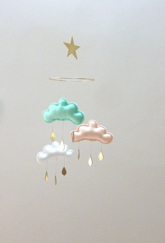"""Mint,Peach,White cloud mobile for nursery with gold star """" IRINA"""" by The Butter Flying-Rain Cloud Mobile Nursery Children Decor on Etsy, $59.95"""