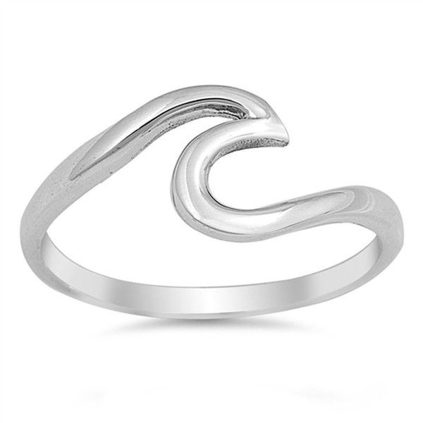 Amazon.com: Wave Polished Cute Fashion Ring New .925 Sterling Silver... ($8.99) ❤ liked on Polyvore featuring jewelry, rings, sterling silver jewelry, sterling silver rings, sterling silver band rings, body jewellery and band jewelry