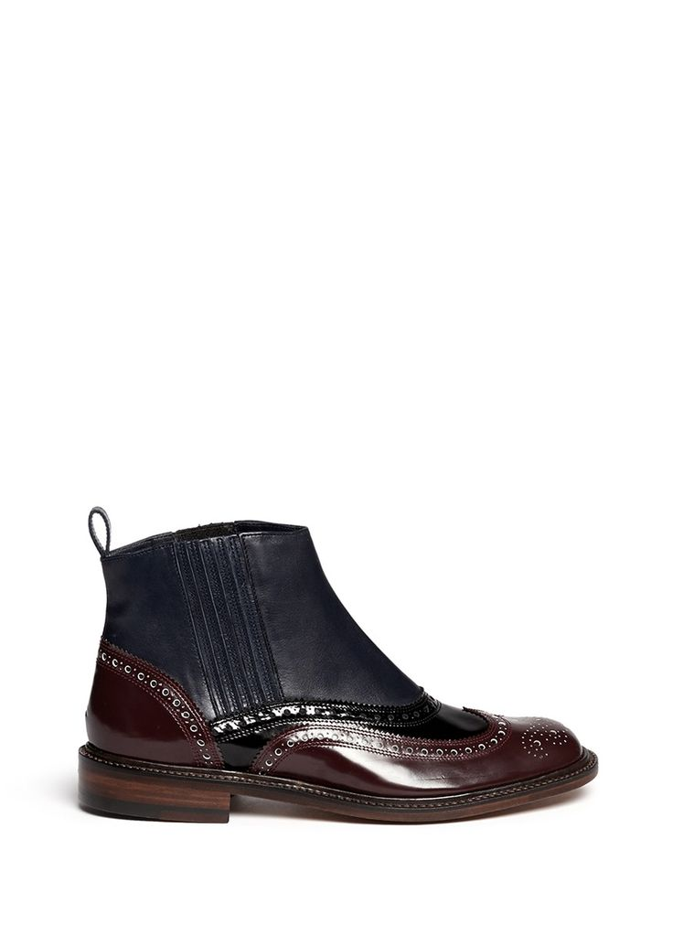 ROBERT CLERGERIE - 'Egim' leather brogue Chelsea ankle boots | Multi-colour Ankle Boots | Womenswear | Lane Crawford