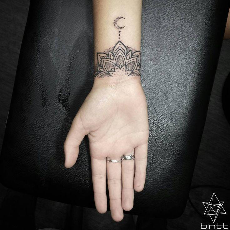mandala flower moon tattoo by @bintt