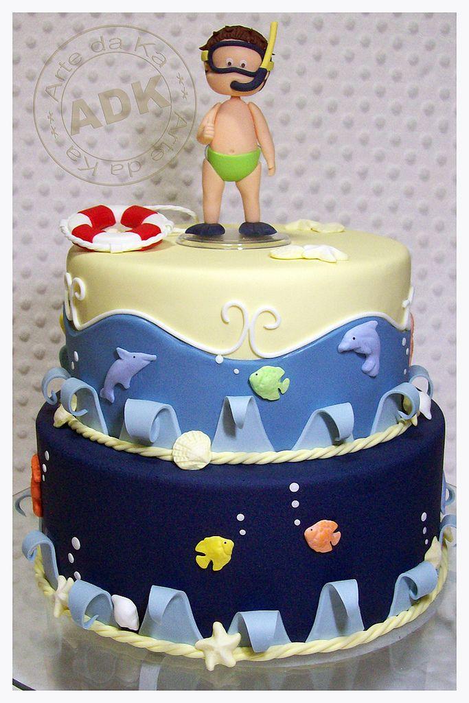 Scuba cake!Scubas Diving, Beach Cakes, Swimming Cake, Pools Parties, Bolo Fundo, Boys Cake, Scubas Cake, Birthday Cake, Ocean Cake