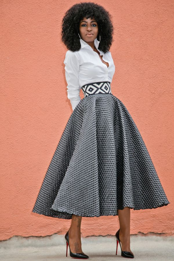 Button Down + Textured Tea Length Skirt