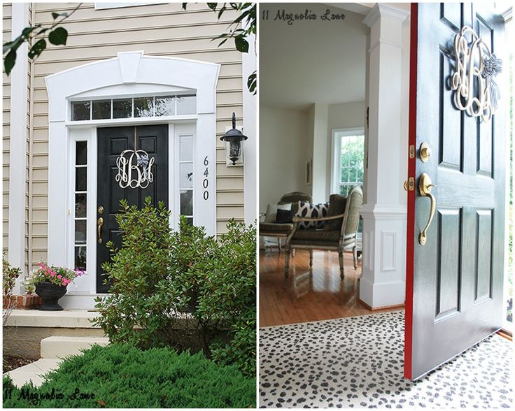 Beautiful Entrance And Front Door Painted With Non Fade Front Door Paint By  Modern Masters With The Color Elegant Black And A Shot Of Ambitious Red