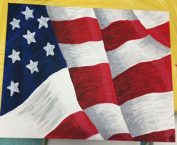 American Flag Painting - Acrylic on 16x20 Canvas