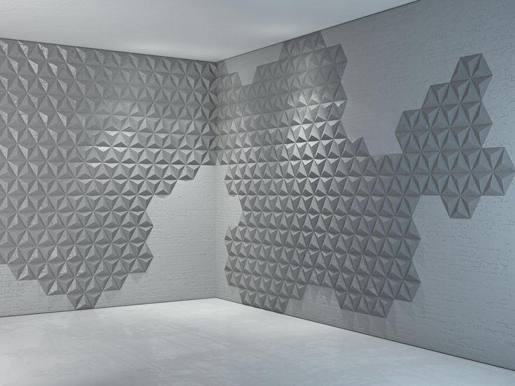 Aranżacja ściany wykonanej z płytek z betonu architektonicznego. Ściana częściowo pokryta jest płytkami 3D Piramids wykonanymi z betonu architektonicznego. Sprawia, że wnętrze staje się niezwykle interesujące i ekskluzywne.