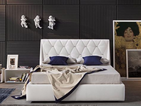 Imitation leather double bed with upholstered headboard DIAMOND by Novaluna…