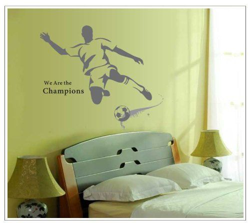 Wall Decals - YYone We Are The Champions Quotation A Man Playing Football for Men or Boys Bedroom Wall Stickers Decor -